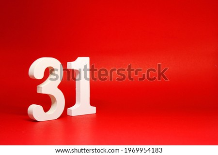 Thirty one ( 31 ) white number wooden Isolated Red Background with Copy Space - New promotion 31% Percentage  Business finance Concept                           Zdjęcia stock ©
