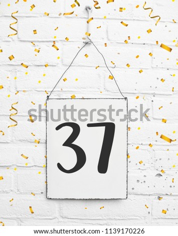 Thirty Seven Years Old Birthday Congratulations Text With Golden Confetti Number 37 1139170226