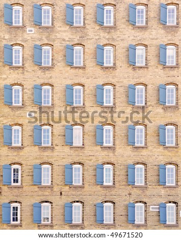 Thirty-six windows on vintage building