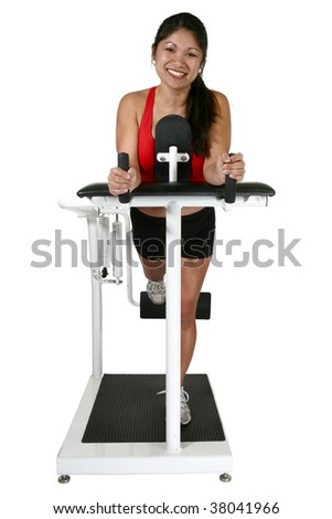 Thirty year old Filipino woman exercising.  Clipping path.