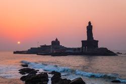 Thiruvalluvar Statue and Vivekananda Rock Memorial on the small island in Kanyakumari city in Tamil Nadu, India
