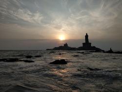 Thiruvalluvar Statue at small island rock kanyakumari India