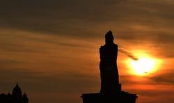 Thiruvalluvar statue at sunrise in India