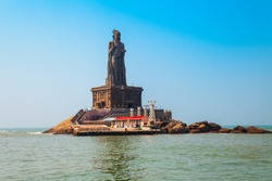 Thiruvalluvar Statue on the small island in Kanyakumari city in Tamil Nadu, India