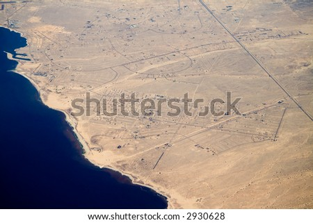 This aerial view of the northern edge of Salton City, CA shows many streets but few houses.