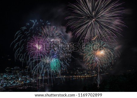 This Atami fireworks display was held in Atami in Shizuoka Prefecture, Japan. It is an enlarged picture focusing on the center of fireworks. The center of the fireworks is expressed fantastically.