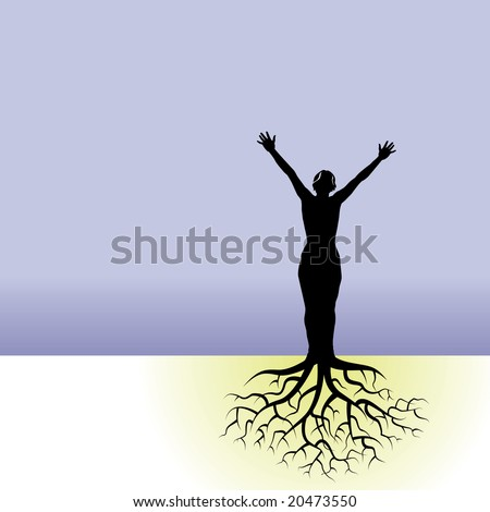 clip art tree roots. a woman with tree roots