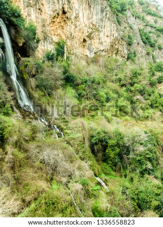 this capture show a water spring that flow from the mountain and form a waterfall into the valley and you can see the color beauty of nature and the contrast between the orange color and green trees