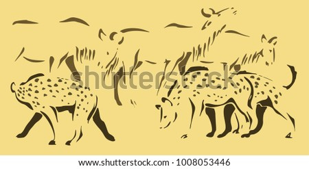 This 3-color illustration depicts an African savannah during a drought. There are a flock of hyenas and a herd of wildebeests. Tired animals are looking for water, so hyenas do not attack wildebeest.