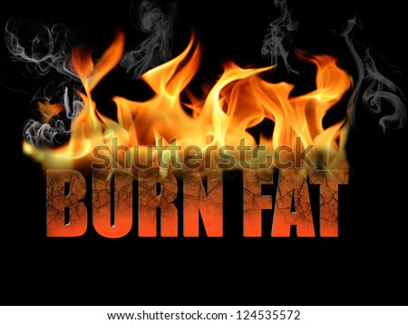 This conceptual digital art is the words burn fat, to show dieting, weight loss, etc, with flame text on a black background.