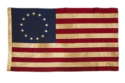 This design for the American flag, popularly attributed to Betsy Ross, was designed during the American Revolutionary War features 13 stars to represent the original 13 colonies.