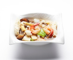This food is Scorched Rice Soup with Seafood. The name of this food is Seafood-Nurungji soup.