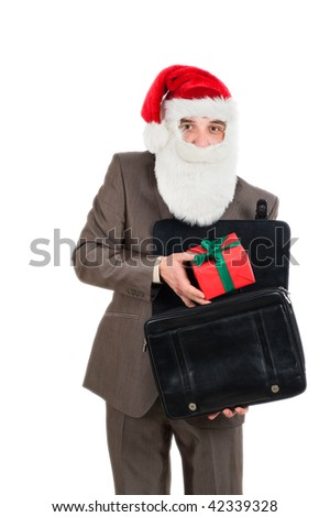This gift for you. Businessman in suit with santa hat on head. Isolated over white background