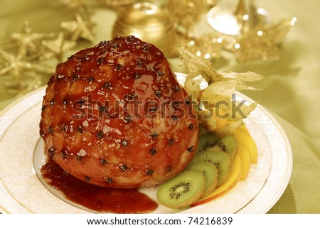 This glazed oven roasted Ham with cloves, Golden berries and Kiwi fruit is a modern rendering of a traditional Brazilian Christmas dish.
