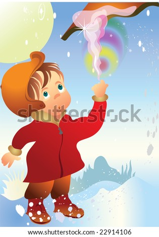 this illustration depicts a boy surprised, melts in the sunshine of snow