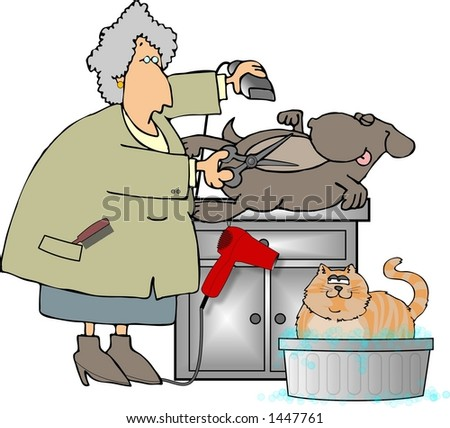 This illustration depicts a dog being groomed while a cat watches from a washtub.