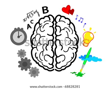 This image illustrates the use of brain hemispheres. Right: emotions, intuitions, creativity and colorful vision. Left: logic, reason, verbal and black & white vision. - stock photo