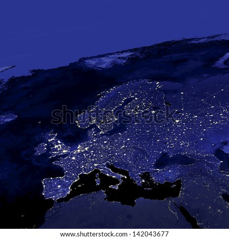 This image of Europe city lights was created with data from the Defense Meteorological Satellite Program (DMSP) Operational Linescan System (OLS). N.A.S.A. Image Edited - stock photo