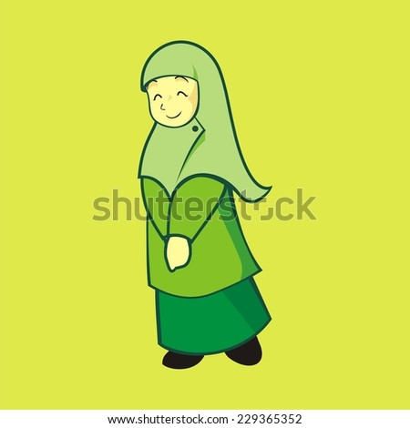 this image or illustration is about a moslem girl that use hijab as her dress it is become cute neat classy at same time there is also calming