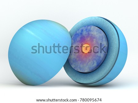 This image represents the internal structure of the Uranus planet. It is a realistic 3d rendering