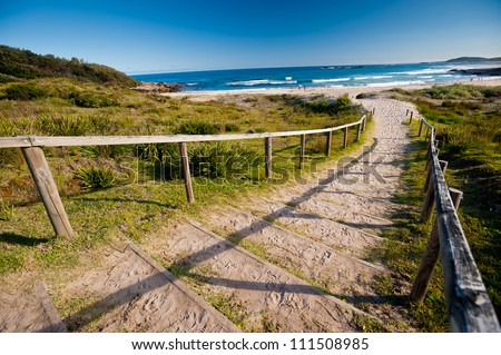 This image shows a beach in New South Wales' South Coast, Australia