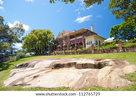 This image shows a historic home on Cockatoo Island,  Sydney, Australia.