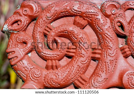 This image shows a Maori carving - Rotorua, New Zealand