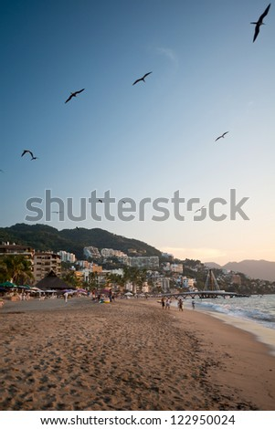 This image shows a Puerto Vallarta sunset scene, Jalisco, Mexico