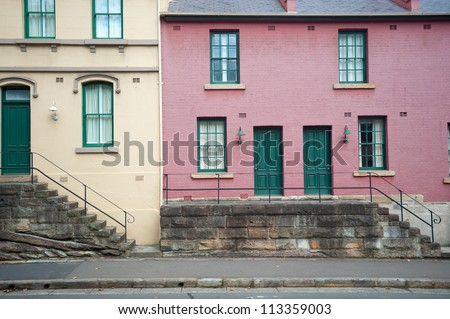 This image shows a scene within the Rocks, Sydney, Australia - stock photo