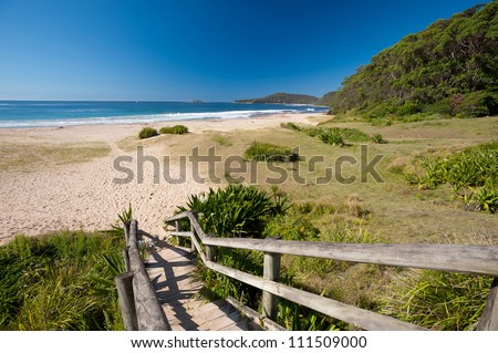 This image shows a tropical beach on New South Wales' South Coast, Australia