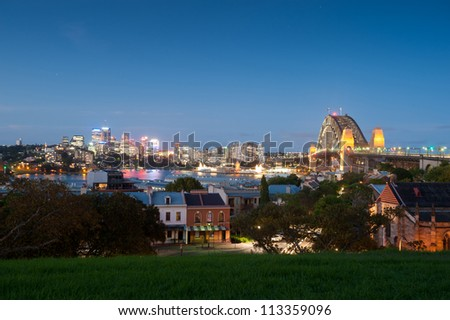 This image shows a view of North Sydney and Harbour Bridge, Sydney, Australia