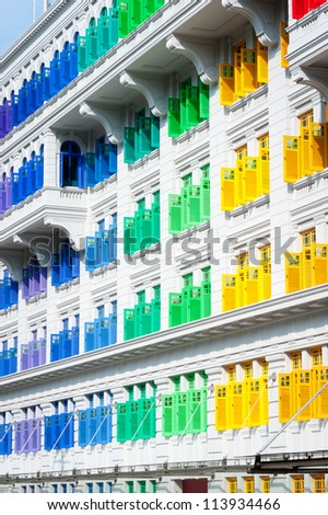 This image shows Colorful window shutters at Clark Quay, Singapore
