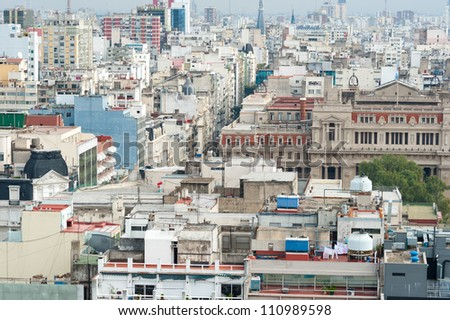This image shows Densely packed buildings in  Buenos Aires