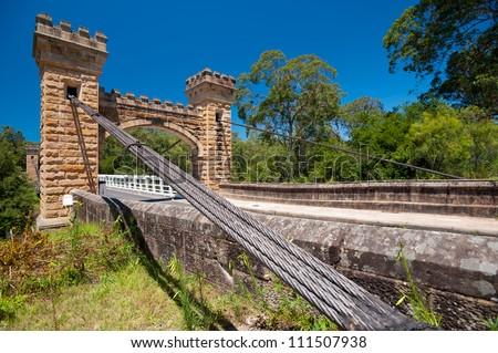 This image shows historic Hampden Bridge, in the Kangaroo Valley, Australia