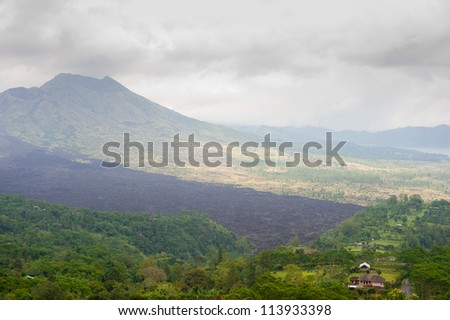 This image shows Lake Batur volcanic landscape, Bali, Indonesia