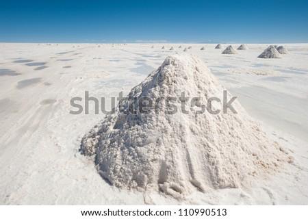 This image shows salt piles on Bolivia's Salar De Uyuni