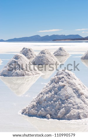 This image shows salt piles on Bolivia's Salar De Uyuni