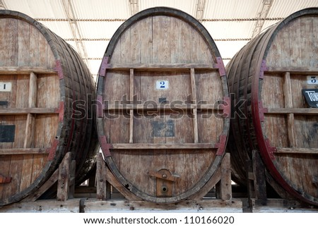 This image shows some large wine barrels in Ican, Peru