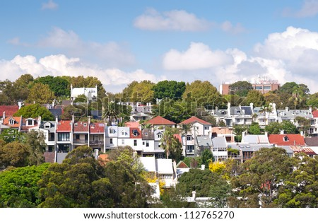 This image shows Terrace Homes near Edgecliff in  Sydney, Australia - stock photo