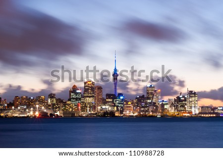 This image shows the Auckland skyline, New Zealand