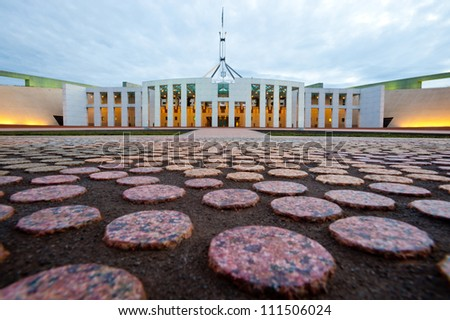 This image shows the Australian Parliament House in Canberra
