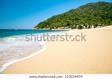 This image shows the beach at  Yelapa in Mexico (Near Puerto Vallarta)