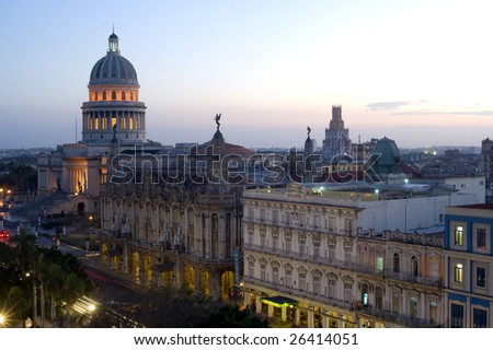 This image shows the Capitolio by night - Havana, Cuba