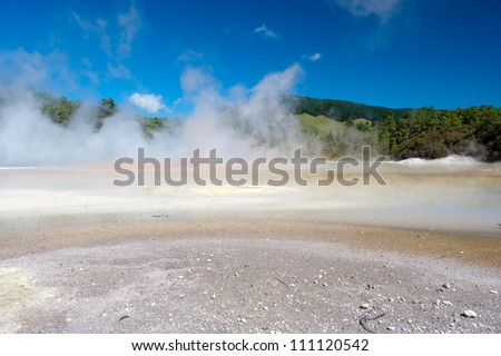 This image shows the Champagne Pool in Wai-O-Tapu Geothermal Wonderland, New Zealand