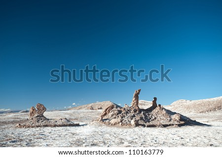 This image shows the Chilean Atacama Desert (Valle de la Luna) - stock photo