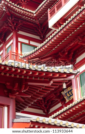 This image shows the detail of the Buddha's Relic Tooth Temple in Singapore Chinatown