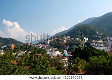 This image shows the lush hillsides in Puerto Vallarta, Jalisco, Mexico