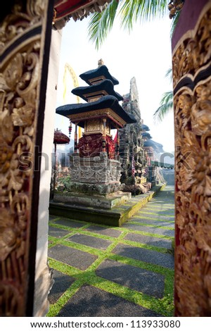 This image shows the Pura Saraswati temple in Ubud. Bali, Indonesia