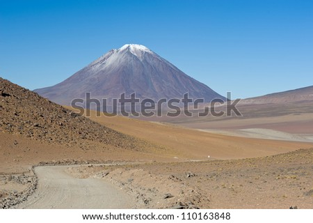 This image shows the road to  Volcano Lincancabur in Bolivia