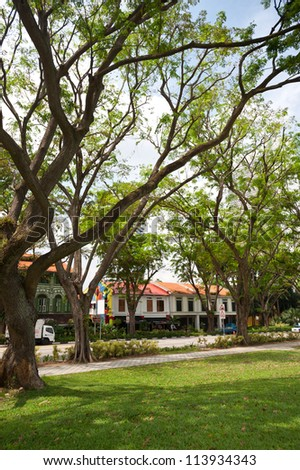 This image shows the shops as seen from a park in Bugis area, Singapore.